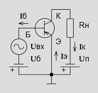 Рис. 4.3. Включение p-n-p транзистора по схеме с общим эмиттером